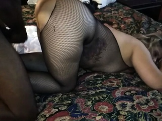 Nylon covered kelly candy playing with fat dildo