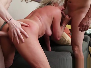 Daddy and Son with both cocks up mommies pussy Taboo whore #step-mom #daddy #step-son
