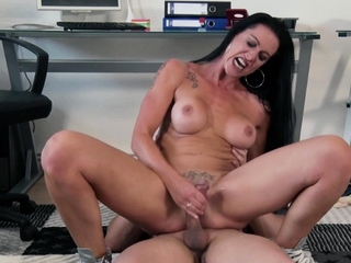 German horny skinny milf picks up guy for fuck
