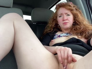 Redhead MILF Cums Big in her Truck after getting Laid off