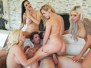 Jasmine Jae, Nina Elle And Others - Big Tit Milf Anal Orgy